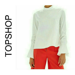Topshop White Bell Sleeve Blouse NWT 6